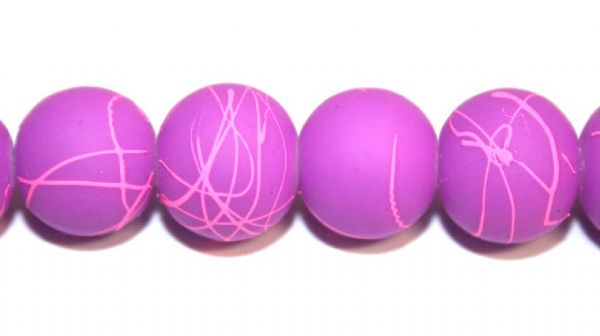 42pieces x 10mm purple colour rubber coated glass beads with pink abstract design -- 3005022